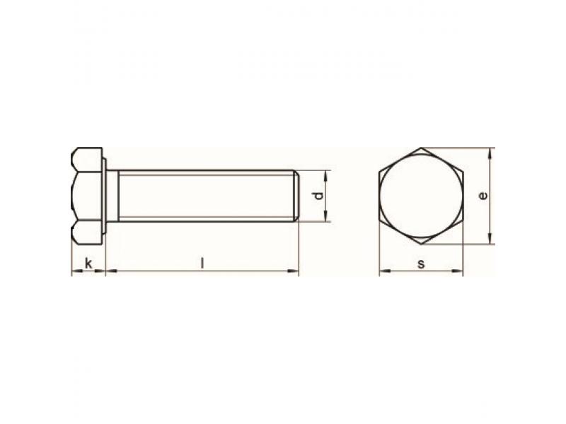 Vis tête hexagonale filetage complet DIN 933 8.8 zingué