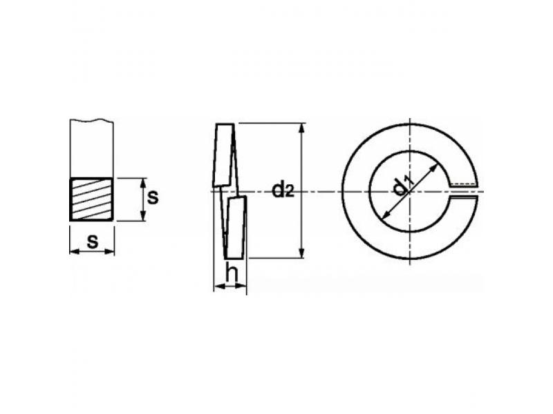 Rondelles GROWER section carrée DIN 7980 brut/zingué