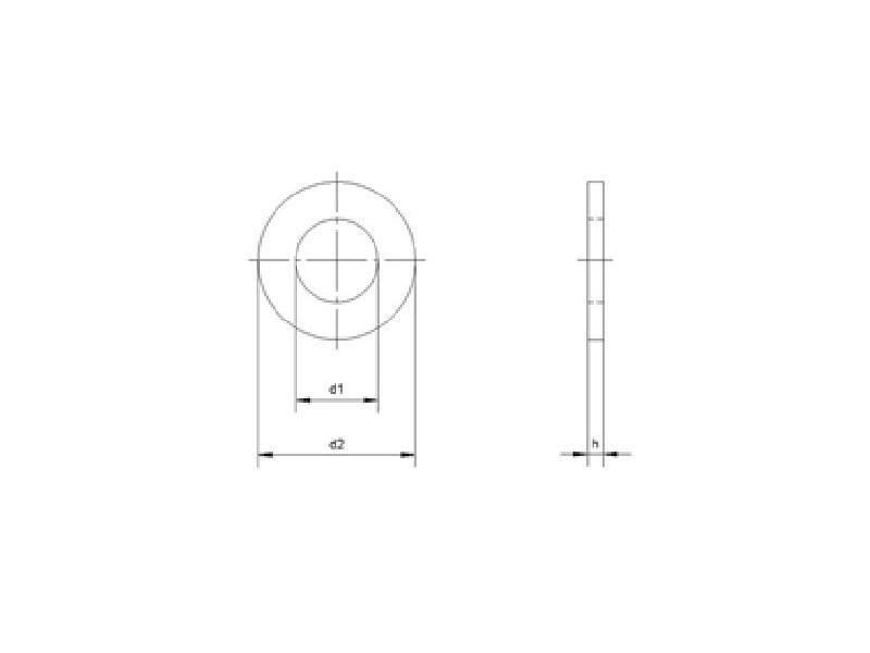 Rondelles plates forme française, série LL, brut/zingué