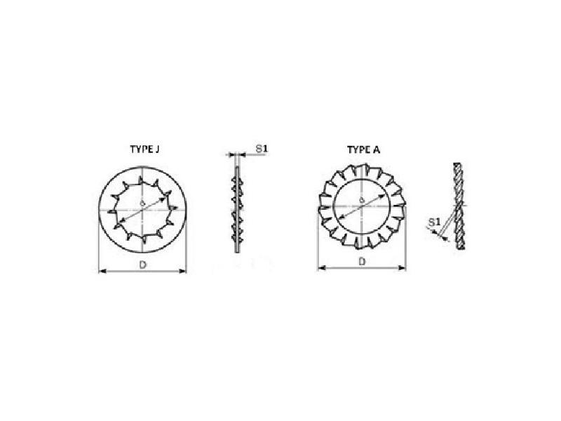 """Rondelles """"Eventail"""" Type A et J DIN 6798 brut/zingué"""
