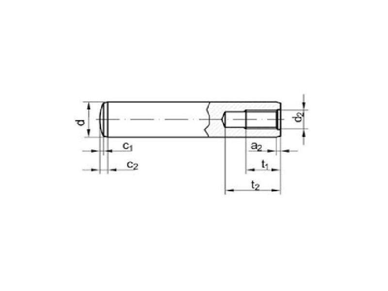 Goupilles cylindriques Taraudées forme D DIN 7979 brut