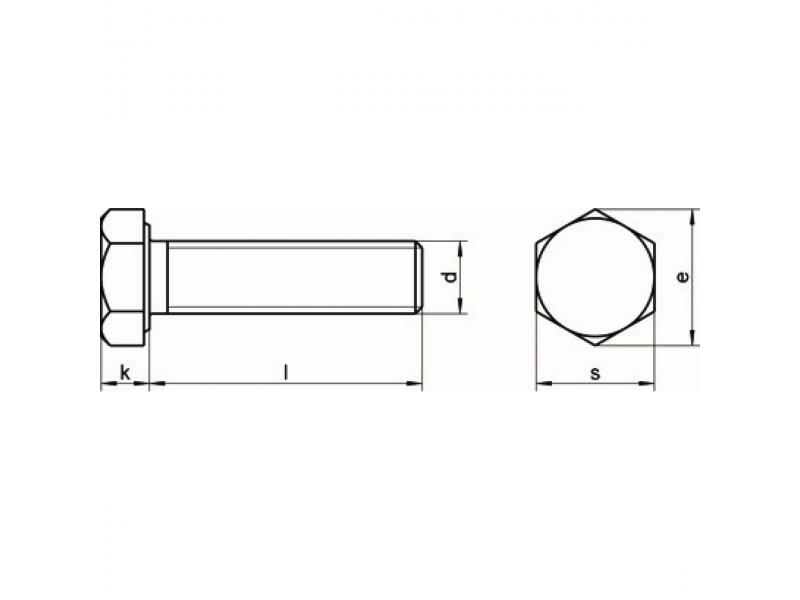 Vis tête hexagonale filetage complet DIN 933 inox A2