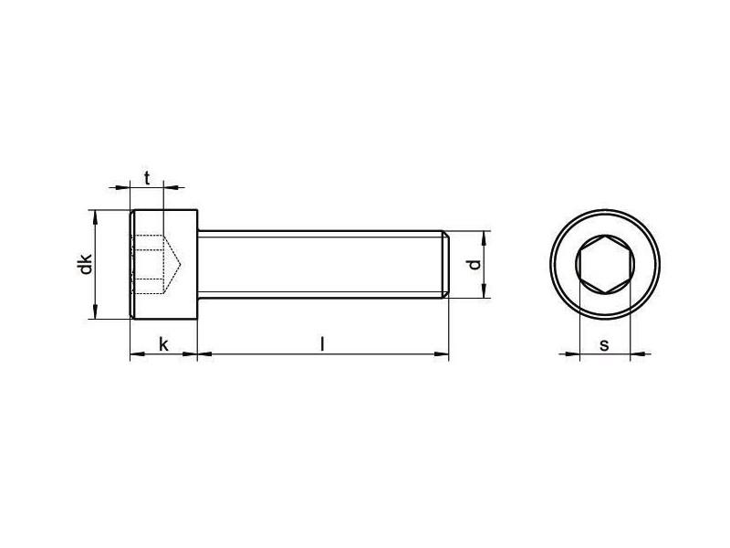 Vis tête cylindrique à six pans creux DIN 912 8.8 filetage complet