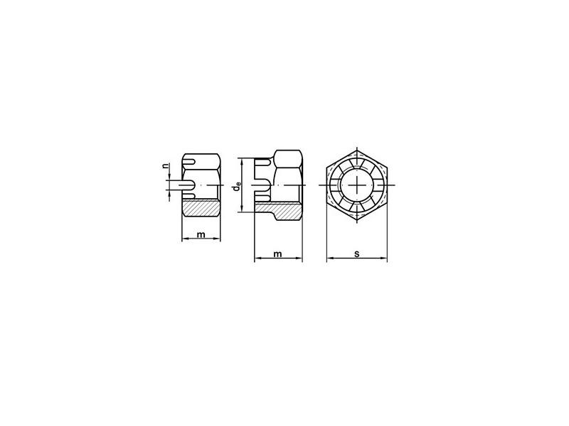 Écrous hexagonaux à créneaux DIN 935 8 brut/zingué