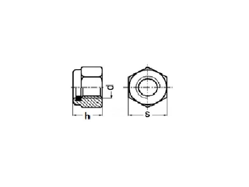 Écrous hexagonaux autofreiné avec bague polyamide, forme haute DIN 982 zingué
