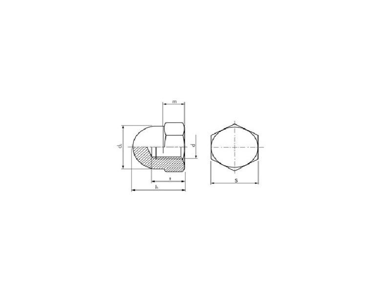 Écrous hexagonaux borgnes DIN 1587 zingué