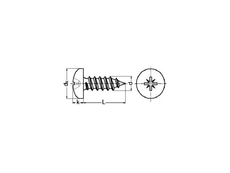 Vis à tôle tête cylindrique bombée cruciforme DIN 7981 zingué