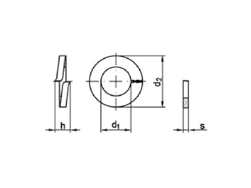 Rondelles GROWER section rectangulaire forme A DIN 127 brut/zingué
