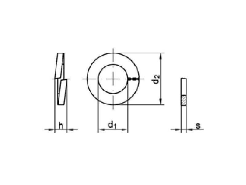 Rondelles GROWER section rectangulaire forme B DIN 127 brut/zingué