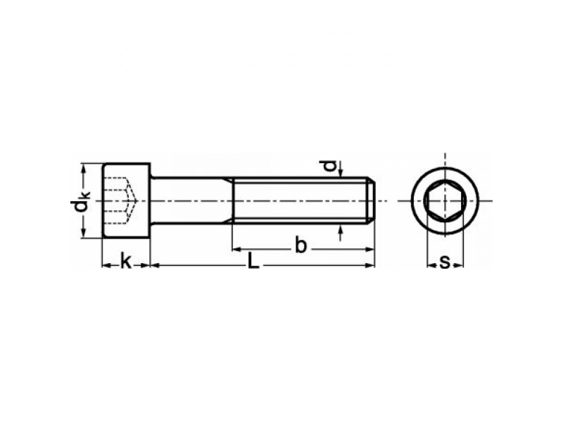 Vis tête cylindrique à six pans creux DIN 912 8.8 / 12.9 brut - zingué