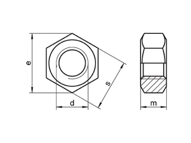 Ecrous hexagonaux pas fin DIN 934 8 brut/zingué