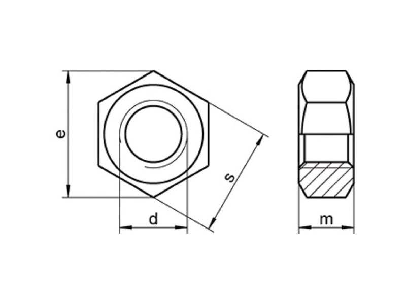 Ecrous hexagonaux DIN 934 brut/zingué