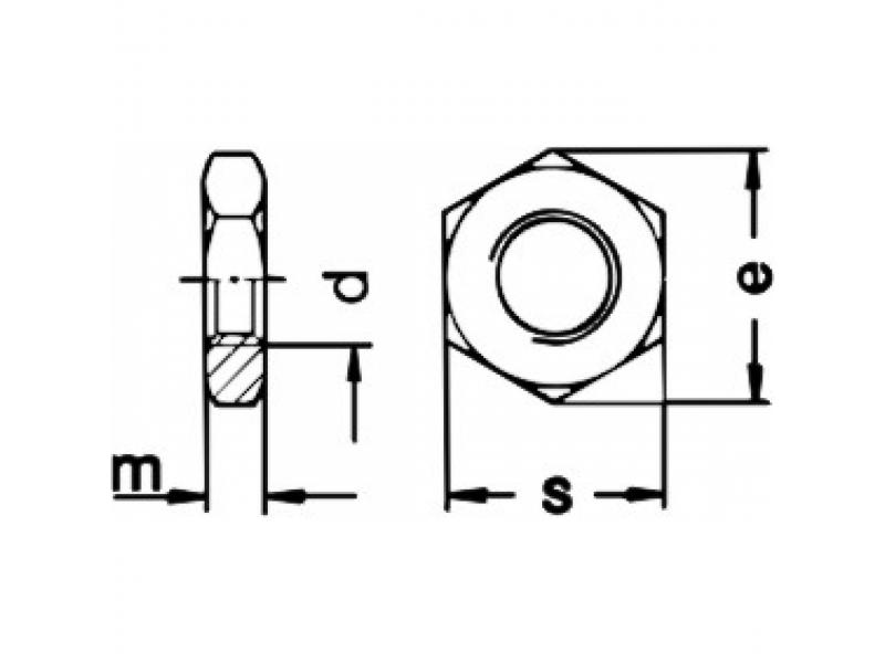 Ecrous hexagonaux bas DIN 936 17H brut