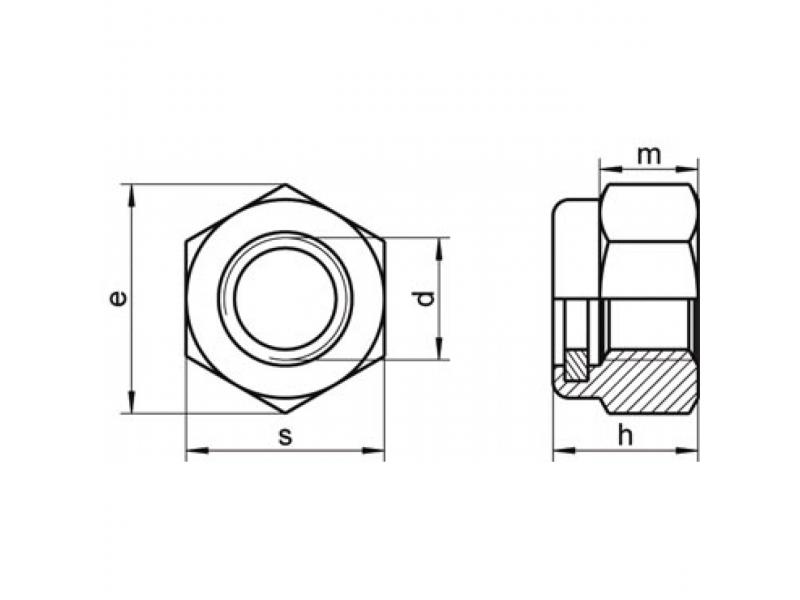 Écrous hexagonaux autofreinés avec bague polyamide DIN 985 zingué/inox A2