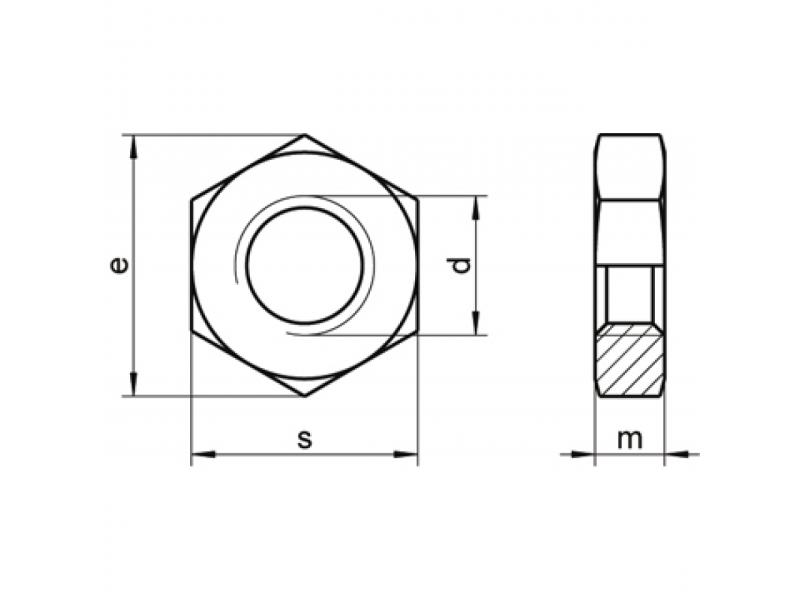 Écrous hexagonaux bas DIN 439 04 brut/zingué